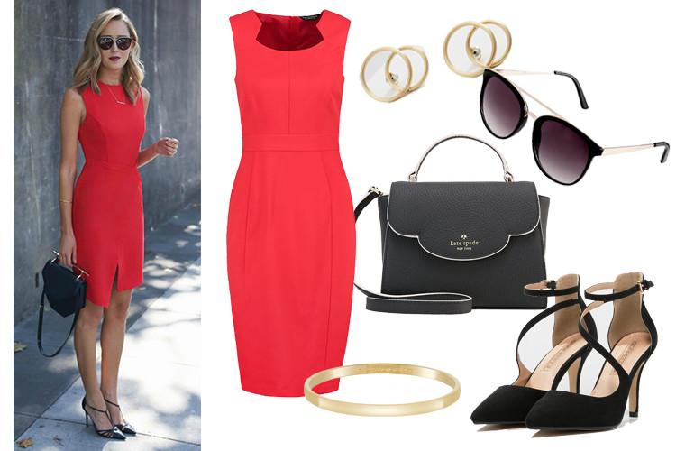 Dodatki do czerwonej sukienki w wersji na oficjalne/ biznesowe spotkanie. Czerwona sukienka, okulary, torebka, szpilki oraz biżuteria pochodzą z serwisu zalando.pl. Stylizacja udostępniona na Pinterest dzięki memorandum.com.