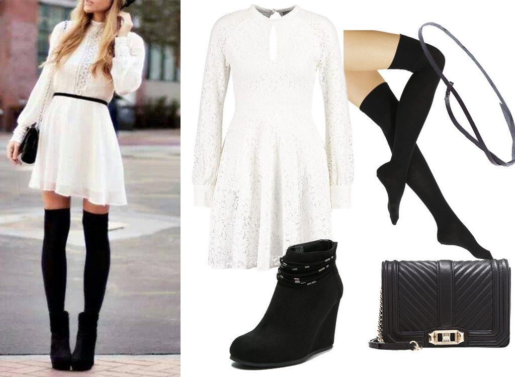 Zakolanówki jak nosić odważną stylizację z białą sukienką w roli głównej? Sukienkę, zakolanówki, botki, torebkę oraz pasek znaleźć możecie na zalando.pl. Zdjęcie do stylizacji udostępnione za pomocą strony Pinterest, ArchZine
