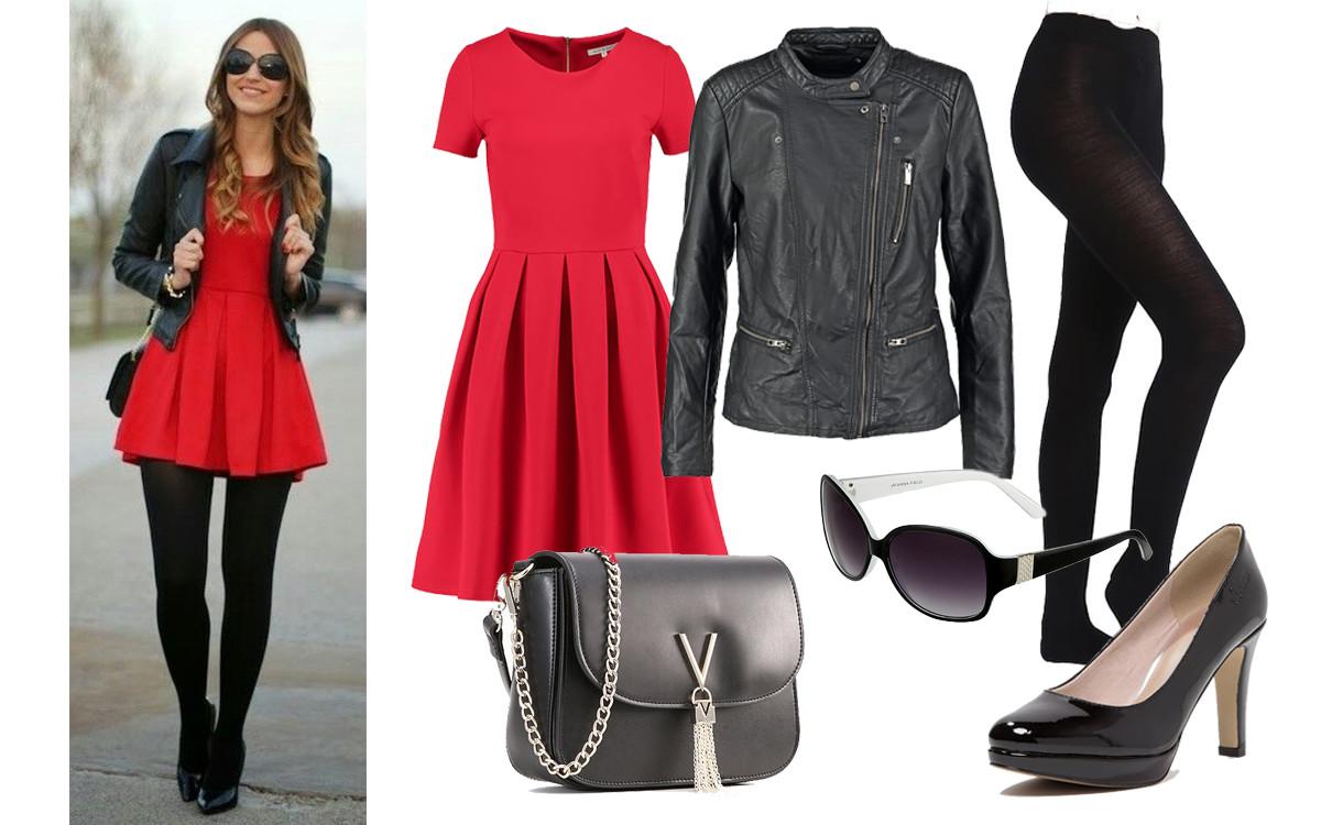 Dodatki do czerwonej sukienki zaproponowane w stylizacji na co dzień. Czerwona sukienka, kurtka, okulary, torebka, czółenka pochodzą z serwisu zalando.pl. Stylizacja udostępniona na Pinterest dzięki eslamoda.com.