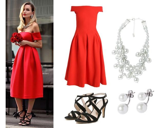 Romantyczne dodatki do czerwonej sukienki dobrane na randkę lub wesele. Czerwona sukienka, biżuteria z pereł, odkryte szpilki dostępne na serwisie zalando.pl. Stylizacja udostępniona na Pinterest dzięki artykułowi Ecstasy Models.