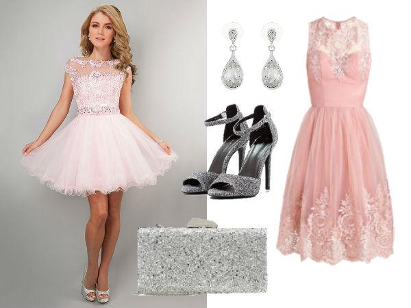 różowa rozkloszowana sukienka stylizacje