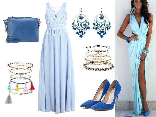 stylizacje na wesele długa sukienka