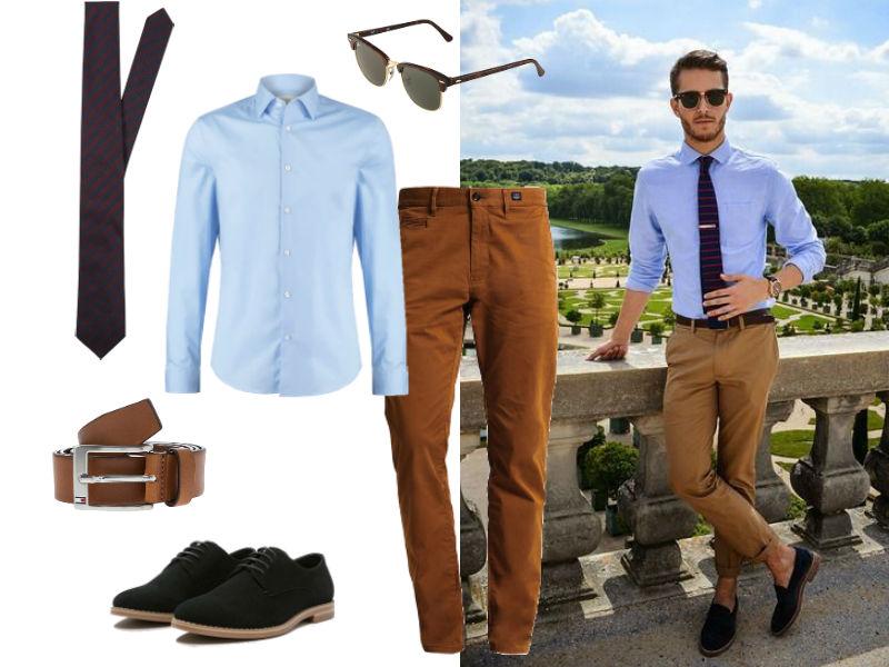 brązowe spodnie męskie z czym nosić