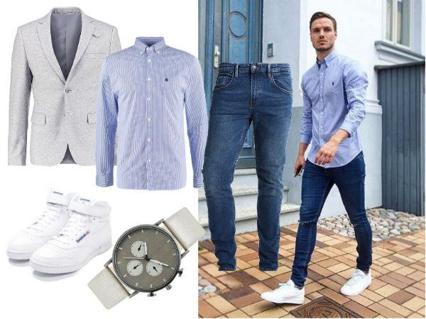 niebieskie spodnie męskie stylizacje