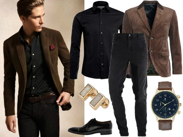 czarna koszula i jeansy