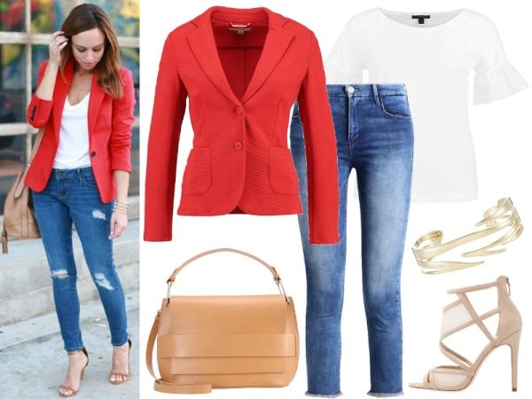 jeansy i czerwona marynarka
