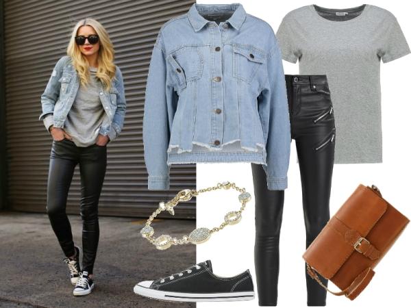 Skórzane spodnie stylizacje jeans