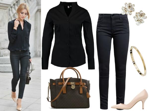 czarna koszula w spodniach