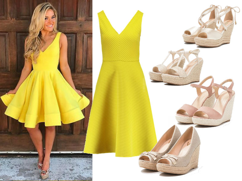 jakie buty do żółtej sukienki