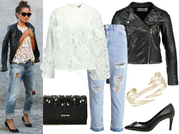 jeansy stylizacje kurtki