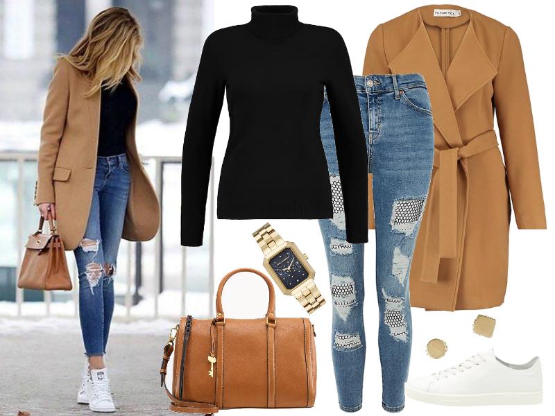 jeansy stylizacje płaszcz